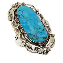 Chaco Canyon Sterling Silver Navajo Kingman Turquoise Ring