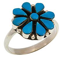 Chaco Canyon Zuni Sleeping Beauty Turquoise Flower Ring