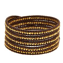Chan Luu Goldtone Bead Leather Wrap Bracelet