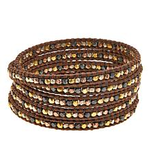 Chan Luu Mixed Metal Bead Leather Multi Wrap Bracelet