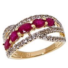 Colleen Lopez 10K Gold Gemstone and White Zircon Ring