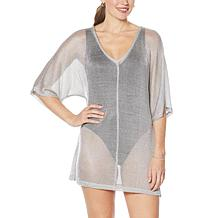 Colleen Lopez Dolman-Sleeve Metallic Knit Cover-Up