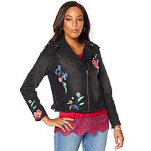 Colleen Lopez Embroidered Denim Moto Jacket