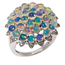 Colleen Lopez Ethiopian Opal and White Zircon Flower Ring