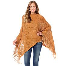 Colleen Lopez Lacy Lady Knit Fringe Poncho Top