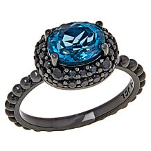 Colleen Lopez London Blue Topaz and Black Spinel Ring