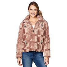 Colleen Lopez Lush & Luxe Embellished Faux Fur Coat