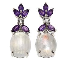 Colleen Lopez Moonstone, Amethyst and White Topaz Drop Earrings