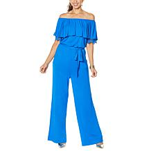 Colleen Lopez Off-the-Shoulder Jumpsuit with Lace Detail
