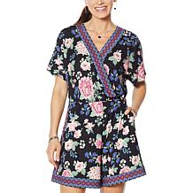 Colleen Lopez Short-Sleeve Romper with Keyhole Back