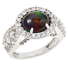 Colleen Lopez Sterling Silver Black Opal and White Zircon Ring