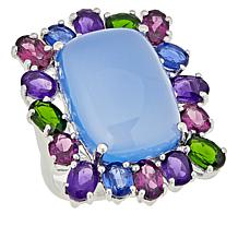 Colleen Lopez Sterling Silver Chalcedony and Multigem Ring