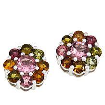 Colleen Lopez Sterling Silver Gemstone Flower Stud Earrings