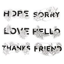 Crafter's Companion Floral Word Stamps - Set of 6