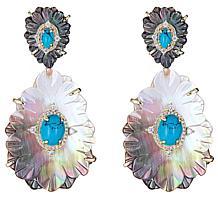 Cristina Sabatini Gold-Tone Calathea Multi-Gemstone Drop Earrings