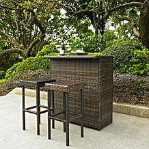 Crosley Palm Harbor 3-piece Outdoor Wicker Bar Set