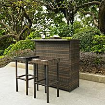 Crosley Palm Harbor 3-piece Outdoor Wicker Bar Set