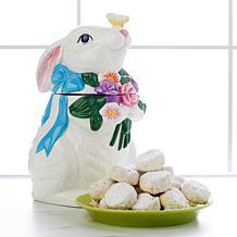 David's Cookies Spring Bunny Jar with 1 lb. Pecan Meltaway Cookies