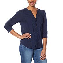 Democracy Knit-to-Woven Henley Top
