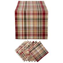 Design Imports 7-Piece Give Thanks Plaid Table Set