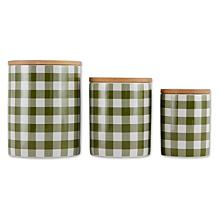 Design Imports Buffalo Check Ceramic Canister 3-pack