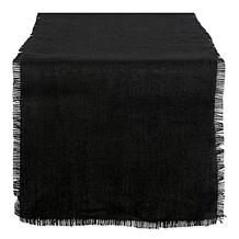 Design Imports Burlap Solid Table Runner in Black