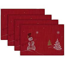 Design Imports Embroidered Snowmen Placemat Set of 4