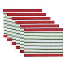 Design Imports Holiday Stripe Placemat Set of 6
