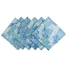 Design Imports Set of 6 Blue Watercolor Paisley Outdoor Napkins