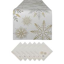 Design Imports Snowflake Sparkle Printed Table Set
