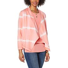 """DG2 by Diane Gilman """"DG Downtime"""" Cascade Front Sweater Topper"""
