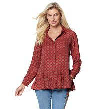DG2 by Diane Gilman Woven Pullover Peplum Blouse