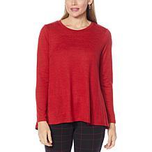 DG2 by Diane Gilman Seamed Brushed Sweater Knit Swing-Hem Top