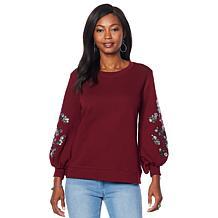 DG2 by Diane Gilman Sequin Embellished Lantern-Sleeve Sweatshirt
