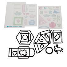 Diamond Press Carousel Exploding Box Stamp and Die Set