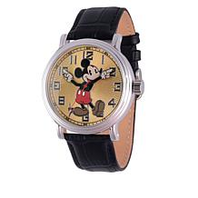 Disney Classic Mickey Mouse Black Leather Strap Watch
