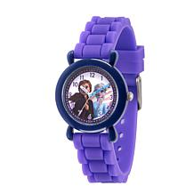 Disney Frozen 2 Elsa & Anna Kids' Blue Time Teacher Purple Strap Watch