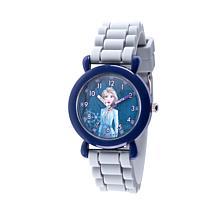 Disney Frozen 2 Elsa Kids' Blue Time Teacher Gray Strap Watch
