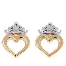 Disney Kids 14K 2-Tone Heart Crown Stud Earrings