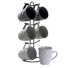 Elama Diamond Waves 6-Piece 12 oz. Mug Set with Stand, Assorted Colors