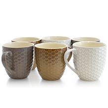 Elama Honeycomb 6-piece 15 oz. Mug Set - Assorted Colors