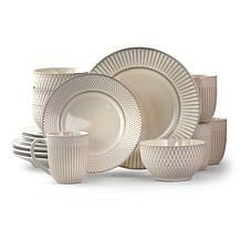 Elama Market Finds 16 Piece Round Stoneware Dinnerware Set in Embos...