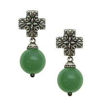 Elyse Ryan Sterling Silver Green Aventurine Bead and Cross Earrings