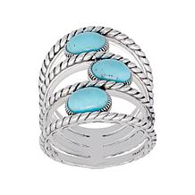 Elyse Ryan Sterling Silver Oval Turquoise Negative Space Ring