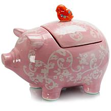 """Farm Heart Pig Shaped 12.5"""" x 9.5"""" Figural Cookie Jar in Pink"""