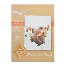 """Fluid 100 Watercolor Paper EZ Blocks Cold Press 12"""" x 16"""" 300 lb."""