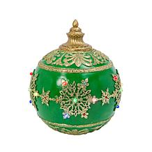 """Gerson 18""""Dia. Battery-Operated Polyresin Jumbo Musical Ornament-Green"""
