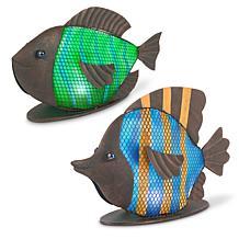 "Gerson Company 11"" Solar Lighted Garden Meadow Mesh Fish"