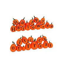 """Gerson Company 13.7"""" Resin Long Pumpkins Spelling Messages 2-pack"""