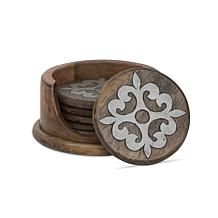 GG Collection Wood&Metal Heritage Collection Coasters w/ Wooden Holder